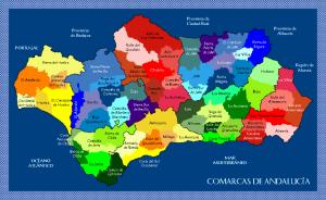 Carte des comarcas andalouses - Espagne