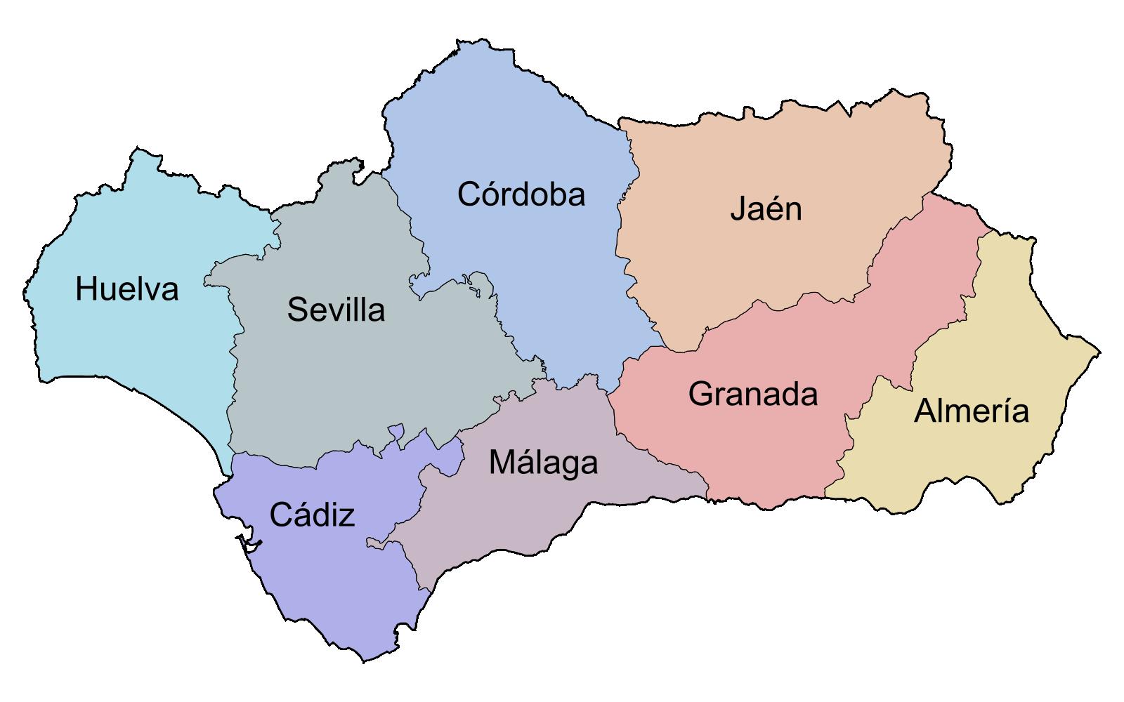 Carte des provinces - Andalousie - Espagne