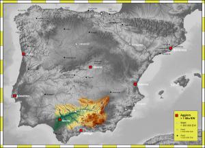 Carte du bassin hydrographique du Guadalquivir