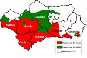 Carte seseo et ceceo en Andalousie